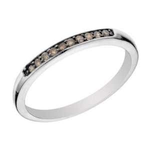 1/10 CT Champagne Diamond Wedding Band 14K White Gold In