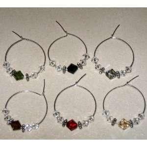 Swarovski Crystal Wine Glass Charms   Set of Six