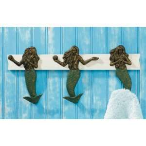 Mermaid Siren Coat Hooks Wall Rack Figurine Holder, 17 1/2