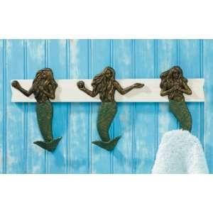 Mermaid Siren Coat Hooks Wall Rack Figurine Holder, 17 1/2