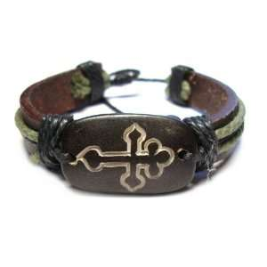 Celtic Cross Tribal Leather Bracelet with Earthtone Cord