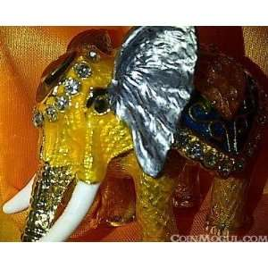 Gold Plated Crystal Layered Elephant Trinket Box Set