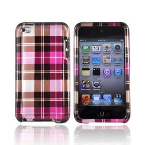 For Apple iPod Touch 4 Hard Case Cover PLAID PINK BROWN