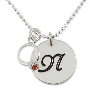 Sterling Silver Initial Disc Pendant with Small Birthstone