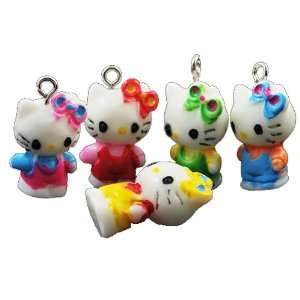 Jewelry Making 5x Multicolor Assortment Hello Kitty Resin Pendants