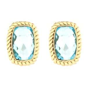 10k Yellow Gold Cushion Cut Blue Topaz with Rope Trim