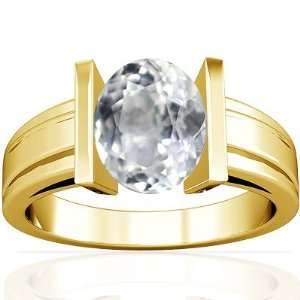 18K Yellow Gold Oval Cut White Sapphire Solitaire Ring Jewelry
