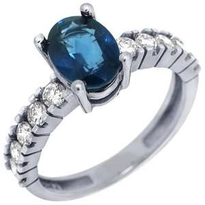Gold Oval Cut Sapphire & Diamond Engagement Ring 2.14 Carats Jewelry