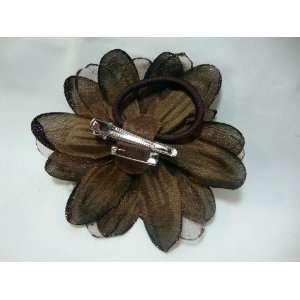 Brown Sheer Dahlia with Feathers Hair Flower Clip Pin and