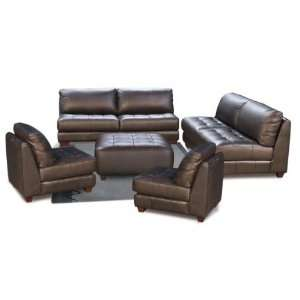 Zen Collection Armless, All Leather Tufted Seat Sofa
