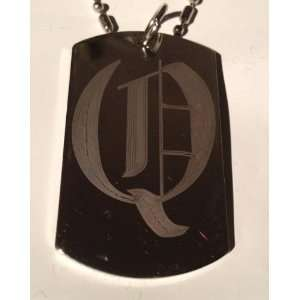 Letter Q OLD English Font Initial   Military Dog Tag