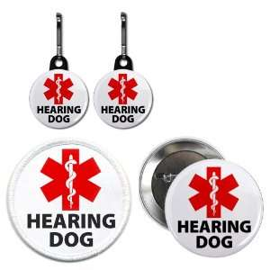 Clam Hearing Dog Alert Medical Alert Button Patch Zipper Pull Charms