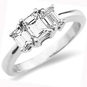 3 Stone 14K Emerald Cut Engagement Ring (1.00 ctw) Jewelry