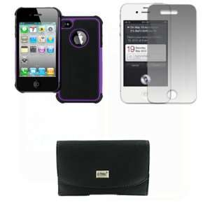 EMPIRE Apple iPhone 4s Black Leather Case Pouch with Belt