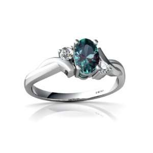 14K White Gold Oval Created Alexandrite Ring Size 5 Jewelry