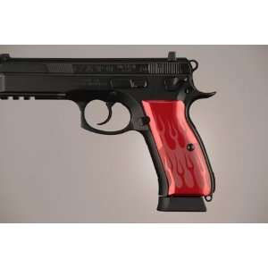 Hogue CZ 75   CZ 85 Flames Aluminum   Red Anodized 75132: