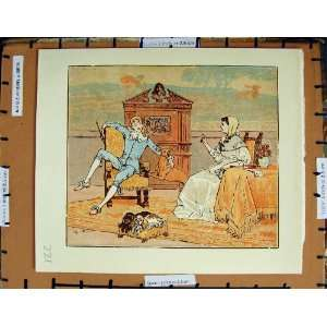 C1950 Nursery Rhyme Man Lady Romance Dogs Colour Plate