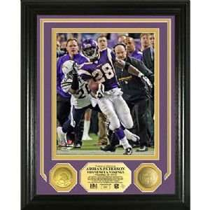 Peterson Nfl Single Game Rushing Record Photo Mint W/ Two 24Kt Gold