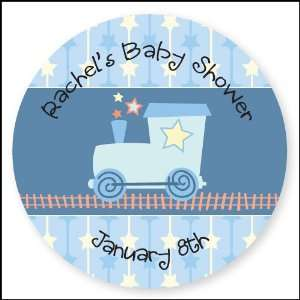 Train   24 Round Personalized Baby Shower Sticker Labels Toys & Games
