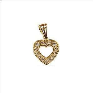 Gold, Open Heart Pendant Charm Lab Created Gems 12mm Wide Jewelry