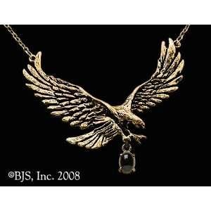 Yellow Gold, Black Onyx set gemstone, Eagle Animal Jewelry, 14 k gold