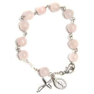 Rose Quartz Gemstone Rosary Bracelet Jewelry