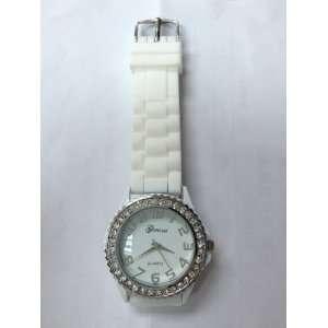 Geneva Crystal White Silicone Quartz Round Face Wrist Watch
