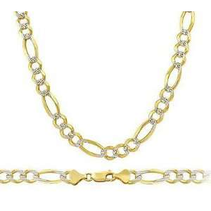 com Pave Figaro Chain 14k Yellow White Gold Necklace Solid Multi Tone