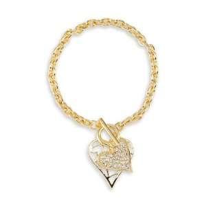New Gold Tone Hearts White CZ Charm Fashion Bracelet Jewelry