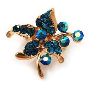 Tiny Teal Crystal Flower Pin Brooch (Gold Tone) Jewelry
