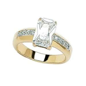 Gold Plated Clear Cubic Zirconia Rectangular Solitaire Style Ring