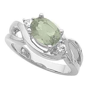 14K White Gold Prasiolite (Green Amethyst) and Diamond Ring Jewelry