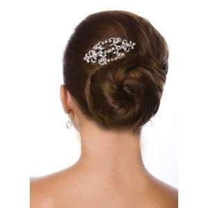 Inspired Antique Silver and Rhinestone Hair Comb with Pearl Accents