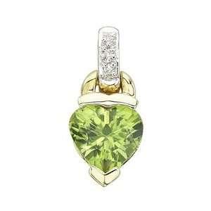 14K Yellow Gold Heart Shape Peridot & Diamond Pendant