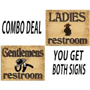 Restroom Bathroom His and Hers signs Cowboy style vintage