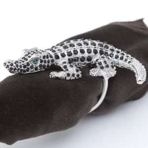 Gold Napkin Rings Platinum Crocodile With Black Swarovski Crystals Set