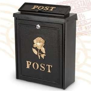 BLACK POST BOX GOLD ROSE DESIGN
