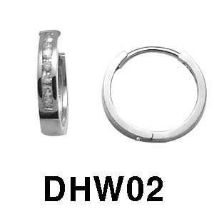 14k Diamond Huggie Hoop Earrings (white gold) Jewelry