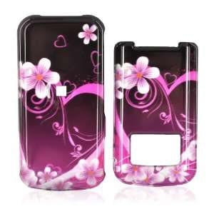 for Motorola i410 Hard Case PINK Heart Flowers BLACK