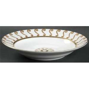 Gold Large Rim Soup Bowl, Fine China Dinnerware
