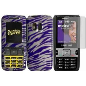 Purple & White Zebra Hard Case Cover+LCD Screen Protector for Samsung