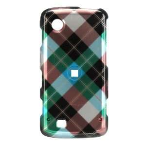 TEAL BLUE PLAID HARD CASE COVER FOR VERIZON LG CHOCOLATE TOUCH VX8575