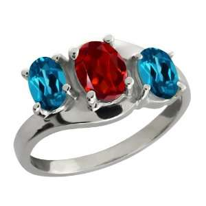 Ct Oval Red Garnet and London Blue Topaz Sterling Silver Ring Jewelry