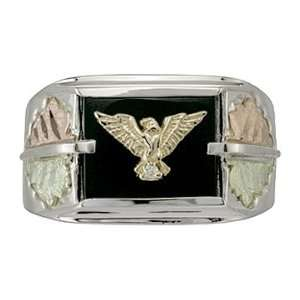 Mens Ring Eagle Sterling Silver Onyx Diamond Accent