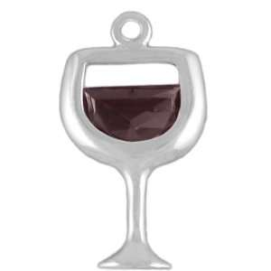 Sterling Silver Crystal Red Wine Glass Charm