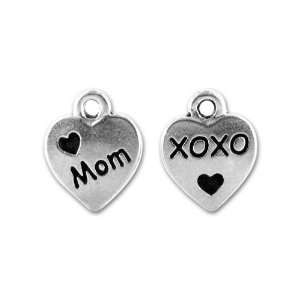 Antique Silver Love Mom Charm Arts, Crafts & Sewing