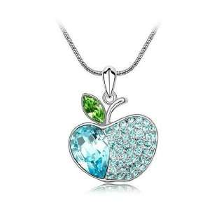 Crystal Apple Charm Pendant Necklace Jewelry