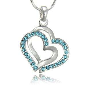 Aqua Blue Crystal Double Heart Charm Pendant Necklace Jewelry