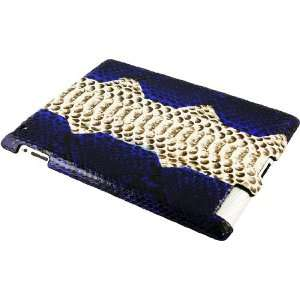Python Snake Leather iPad 2 Case   Dark Blue/Natural: Home & Kitchen