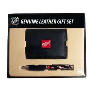 Leather Tri Fold Wallet & Comfort Grip Pen Gift Set
